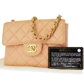 Auth CHANEL CC Mini Matelasse Quilted Chain Shoulder Bag Caviar Leather 307L429