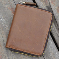 100% handmade fashion retro zipper genuine leather wallet vintage card hold gift 25