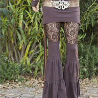 Lace Zumi Dance Pants - in Brown - Floral Lace