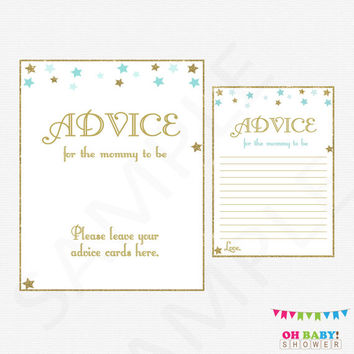 Advice for the Mommy to be Advice for the New Parents Baby Shower Twinkle Twinkle Little Star Invitation Insert Printable Sign Download STBG