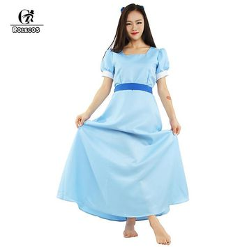 Cool ROLECOS Peter Pan Wendy Blue long cosplay costume beauty lady  Dress half sleeve causal party dress for womenAT_93_12