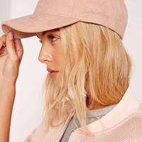 Missguided - i came to break hearts embroidered satin baseball cap nude