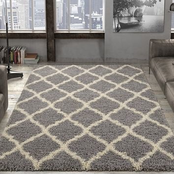 Ottomanson Ultimate Shaggy Collection Moroccan Trellis Design Shag Rug Contemporary Bedroom and  Living room Soft Shag Rugs
