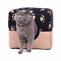Multifunctional Cat Cave Bed Dog Bed Mat Pet Cat Sofa Kennel Paw Pattern Soft Cat Kitten Puppy Nest Pet Supplies New Arrival