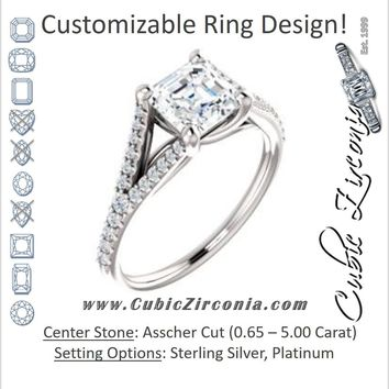 Cubic Zirconia Engagement Ring- The Mailynne (Customizable Asscher Cut Style with Split-Pavé Band)