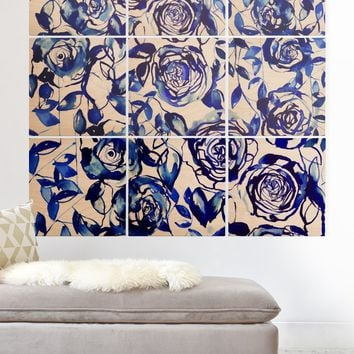 Holly Sharpe Painted Blue Wood Wall Mural