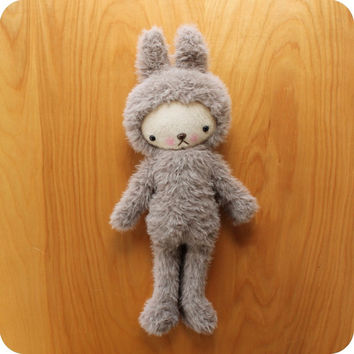 Kawaii Easter Bunny Rabbit Plushie Stuffed Animal in Taupe Luxury Minky