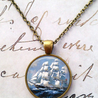 Ship Necklace, Pirate, Sailor, Nautical, Ocean, Science, Steampunk, Pendant T559