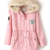 Pink Fur Hooded Zipper Embellished Fleece Inside Military Coat - Sheinside.com
