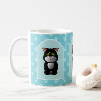 Black White Cat, Blue Paw Prints Coffee Mug