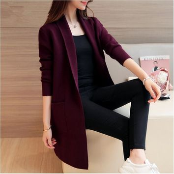 New Fashion Woman knit Trench Open Stitch casual Coat