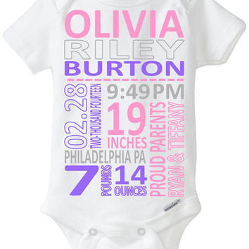 Birth Stats Onesuit / Bodysuit - Newborn Photo Outfit / Baby Gift / New Parent / Babyshower - Subway Art Format - Nursery Art You customize!
