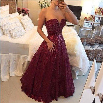 Burgundy Prom Dresses 2017 Ball Gowns Lace Dresses Party Backless Wedding Party Dresses Sheer Formal Gowns
