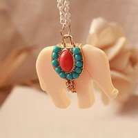 White Elephant Long Chain Pendant Necklace from Fashion Accessories Store