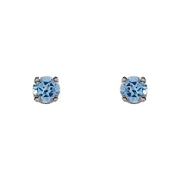 Kids 14k White Gold 3mm Swiss Blue Topaz Youth Threaded Post Earrings