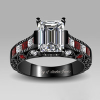 Museum 2.3CT Emerald Cut Lab Diamond Red Accents Promise Engagement Anniversary Wedding Ring