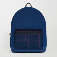 Digital Dark Navy Blue Ombre Fine Lines Backpack by Sheila Wenzel