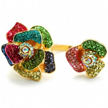 May's Multicolor Crystal Rose Two Finger Ring-Final Sale