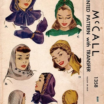 McCall 1358 Vintage 1940s Sewing Pattern Ladies Hood Capelet Soft Hat Headwrap Mittens Hooded Cap Hollywood Glamour Fashion