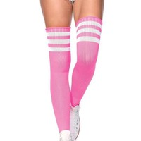 DCCKLP2 Athlete Thigh Hi W/ 3 Stripe Top in NEON PINK