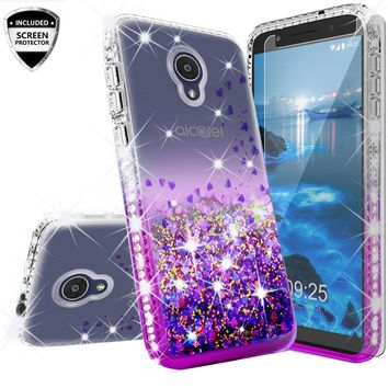 Alcatel 1x Evolve Case Liquid Glitter Phone Case Waterfall Floating Quicksand Bling Sparkle Cute Protective Girls Women Cover for 1x Evolve - Purple