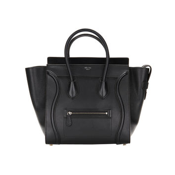 Celine Black Drummed Leather Mini Luggage Tote