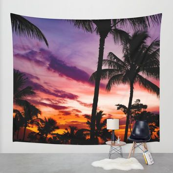 Fire In The Sky Wall Tapestry by Gallery One