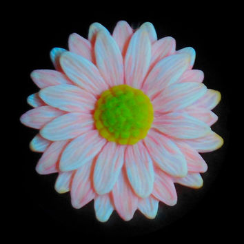 EyeGloArts psychedelic Peach Pink Glow in the dark 3D Daisy Pendant UV neon blacklight polymer clay Millefiore Jewelry
