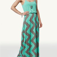 Mint/Grey Chevron Blousant Maxi Dress