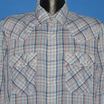 80s Levis Red White Blue Plaid Western Pearl Snap Shirt Large