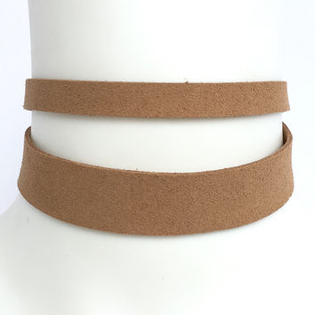 Double Up Choker In Tan