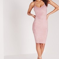 Missguided - Faux Suede Cross Back Midi Dress Pink