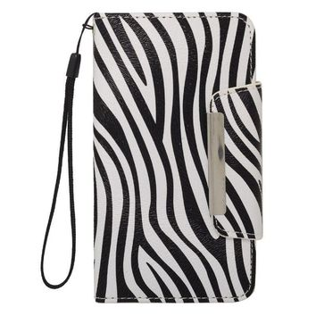 Insten Black/ White Zebra Leather Case Cover Lanyard with Wallet Flap Pouch For Samsung Galaxy S5