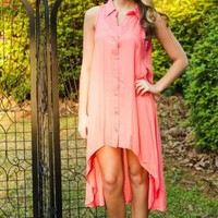 Coral Hi-Low Button Down Sleeveless Dress