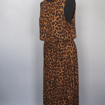 Vintage 1980s Leopard Print Boho Maxi Gown Size Medium Large Rayon Beach Dress Summer Sundress Tribal Honeymoon Sexy Slinky Fitted Gown