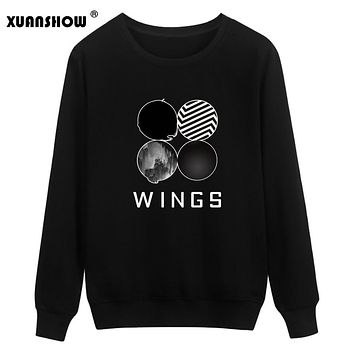 XUANSHOW Wings Album Sweatshirts Kpop Sweatshirt Women Korean Popual Bangtan Boys Autumn Winter Women Hoodies