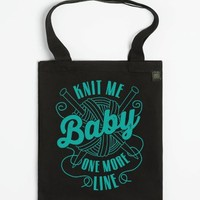 Knit Me Baby, One More Line (dark tote)-Unisex Black T-Shirt