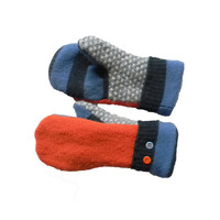 Orange and Blue Wool Sweater Mittens with stripes and dots Handmade Recycled Sweater Fleece Lined