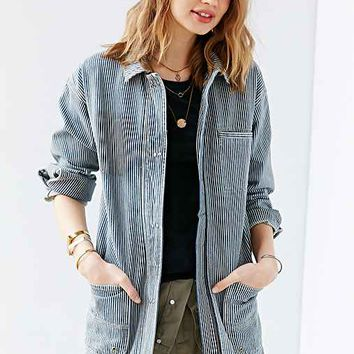 BDG Railroad Stripe Workwear Denim Jacket- Vintage Denim Light