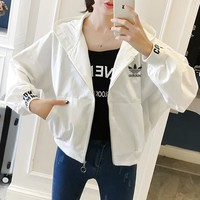 """Adidas"" Women Sport Casual Letter Print Bat Sleeve Long Sleeve Zip Cardigan Hooded Coat"