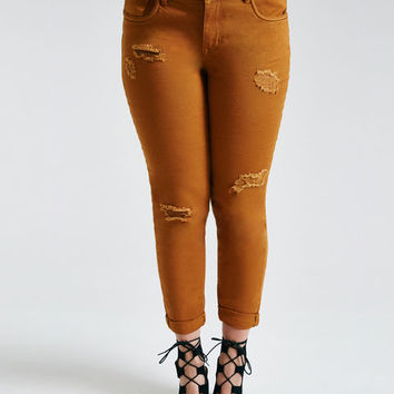 Plus Size Colored Distressed Roll Cuff Skinny Jeans | Wet Seal Plus