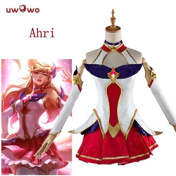 UWOWO Star Guardian Ahri Cosplay LOL Game Costume The Nine-Tailed Fox Costume Women Star Guardian Ahri Cosplay Game LOL