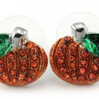 Small Cute Happy Halloween Fall Thanksgiving Pumpkins Post Stud Pierced Earrings