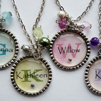 Personalized Custom bridesmaid flower girl necklaces, green, initial, childrens name, gift, present, wedding party bridal party pastel
