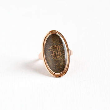 """Antique 8K Rose Gold Woven Hair Dated """"1793"""" Ring - Size 6.5 Georgian Victorian Braided Mourning Fine Jewelry, Monogrammed KH Kate Hart"""
