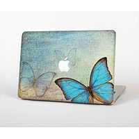 """The Vivid Blue Butterfly On Textile Skin Set for the Apple MacBook Air 11"""""""