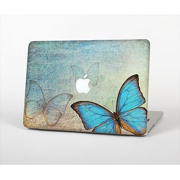 The Vivid Blue Butterfly On Textile Skin Set for the Apple MacBook Pro 13""