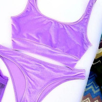 Fashion velvet pure color purple vest type two piece bikini swimsuit set