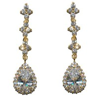 Fiala Romantic Pear Drop Gold Earrings | 6ct | Cubic Zirconia | Gold