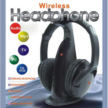 5 in 1 HiFi Wireless Headphone Earphone Headset Wireless Monitor FM Radio MP3 PC TV Audio Phones